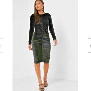 BARDOT Ruched Bodycon Midi Velvet Dress NEW